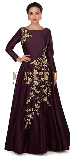 Dark wine gown embellished in floral motif embroidery only on Kalki Indian Wedding Gowns, Indian Gowns Dresses, Indian Outfits, Gown Pattern, Dress Patterns, Sabyasachi Wedding Lehenga, Anarkali Gown, Anarkali Suits, Indowestern Gowns