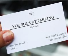 Included in this 100 pack of cards are 8 different insults perfect for common everyday situations where you want to hurl insults at someone but need to stay professional. These offensive business cards include: You Suck At Parking You Smell Like Shit Your Tattoos Are Retarded Your Service Sucks You're Ugly As Fuck Santa Isn't…