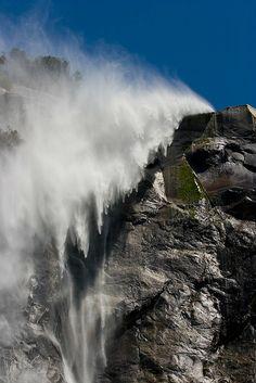 Bridalveil Falls on a windy day, Yosemite National Park, California