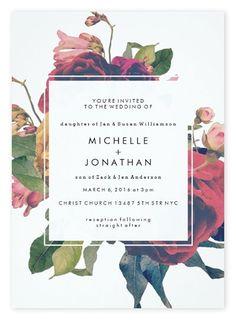 Dramatic Floral Boho Wedding Invitations by Phrosne Ras for Zazzle