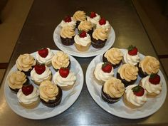 DOOR COUNTY WEDDINGS THIS WEEK ~ Vanilla with strawberry and chocolate plus salted caramel buttercream cupcakes for a 50th Anniversary dinner at Alexander's of Door County by FlourGirl Patissier.