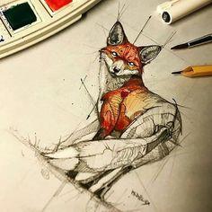 @cretvo.art - Great freehand draw by psdelux #freehand #sketch #drawing #painting #animal #fox #animalart #cretvo