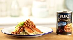 Harissa-rubbed halloumi, Heinz Creationz Tagine Chickpeas and fragrant couscous in under 25 minutes.