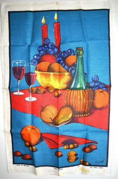 Romantic Candle Light Dining Table Tea Towel - Vintage Still Life Painting Style - Irish Linen