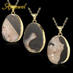 Ajojewel Brand Suspension Black And White Stone Pendant Necklaces 18K Golden Chain Female's Bijouterie