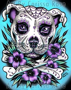 Sugar Skull Pit Bull by misscarissarose on DeviantArt Sugar Skull Pit Bull by misscarissarose on DeviantArt <br> Sugar Skull Wallpaper, Sugar Skull Artwork, Sugar Skull Drawings, Sugar Skull Painting, Cool Skull Drawings, Gothic Drawings, Tattoo Pitbull, Bull Tattoos, Sugar Skull Mädchen