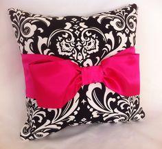 Decorative Pillow - Black & White Damask - Hot Pink Satin Bow by leahashleyokc on etsy - $50