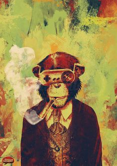 """What would otherwise just be deemed """"cool"""" artwork has an added layer of shock value when you find out what materials the artist uses. Art And Illustration, Art Pop, Game Art, Urbane Kunst, Monkey Art, Monkey Style, Street Artists, Urban Art, Cool Artwork"""