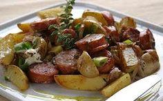 λουκανικα χωριατικα - Google Search Greek Cooking, Kung Pao Chicken, Allrecipes, Potato Salad, Tapas, Beef, Ethnic Recipes, Food, Essen