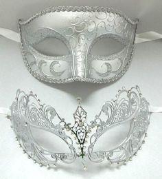 Lovers Men Woman Couple Silver Metal Glitter Venetian Masquerade Ball Mask Masks | eBay