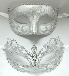 Lovers Men Woman Couple Silver Metal Glitter Venetian Masquerade Ball Mask Masks | eBay