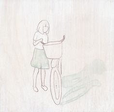 girl and her bike.    via Etsy.