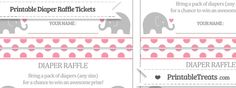 Here are some cute pastel pink polka dot baby elephant diaper raffle tickets you can print, cut, and send to guests along with your baby shower invitations. There are ten diaper