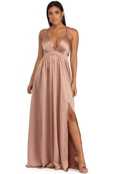 Julianna Taupe Satin Glamour Gown | WindsorCloud