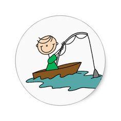 Stick Figure Fishing Sticker