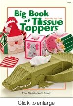 Big Book Of Tissue Toppers Plastic Canvas. If you like making tissue toppers this hard covered book is for you. There is 49 patterns to choose from.  Including everyday toppers along with holiday toppers.