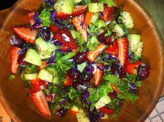 This looked so good I began eating before taking the pic! It's a very simple, basic salad with red leaf lettuce, tomatoes, cukes, strawberries, shredded purple cabbage, grapes and sliced little bells. Some salt-free garlic herb seasonings and, good-to-go!!!