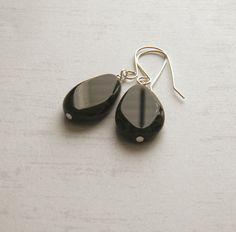 Black Earrings Flat Black Teardrop Earrings by JulieEllisDesigns