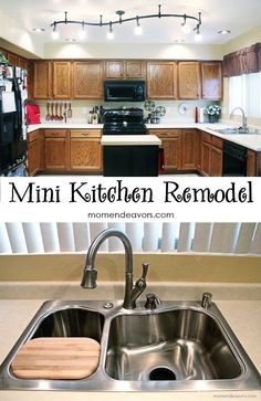 A mini kitchen remodel details via momendeavors.com. New lighting makes a BIG difference!
