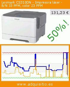 Lexmark CS310DN - Impresora láser - B/N 33 PPM, color 23 PPM (Ordenadores personales). Baja 50%! Precio actual 131,23 €, el precio anterior fue de 261,99 €. https://www.adquisitio.es/lexmark/cs310dn-impresora-l%C3%A1ser