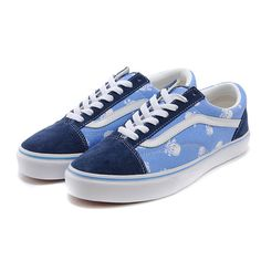 Vans Shoes Navy Blue/SKy Blue Skulls Old Skool Shoes Womens Classic Canvas
