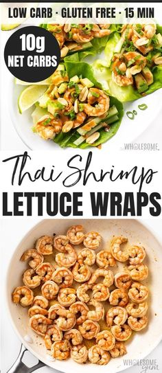 shrimp recipes Spicy Keto Thai Shrimp Lettuce Wraps Recipe - This spicy Thai shrimp recipe is a delicious and EASY meal. Low carb keto shrimp lettuce wraps with peanut sauce are GF and take just 15 minutes to make! Keto Shrimp Recipes, Spicy Recipes, Healthy Recipes, Healthy Food, Healthy Eating, Vegetarian Food, Fish Recipes, Healthy Meals, Asian Recipes