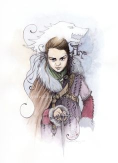 arya stark série game of thrones dessin illustration portrait aby aquarelle