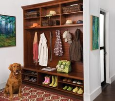 Instead of letting your family's winter gear be thrown haphazardly about your entryway or mudroom, plan appropriately for the chilly months ahead by creating functional storage. Laundry Design, Hall Design, Room Closet, Hall Closet, Closet Space, Home Projects, New Homes, House Design, Garden Design