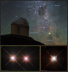 This picture combines a view of the southern skies over the telescope at the La Silla Observatory in Chile with images of the stars Proxima Centauri (lower-right) and the double star Alpha Centauri AB (lower-left) Sistema Solar, Hubble Space Telescope, Space And Astronomy, Cosmos, Jupiter Planeta, Alpha Centauri, Ciel Nocturne, Dark Energy, Milky Way