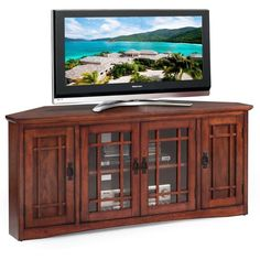 KD Furnishings Mission Oak Hardwood 60-inch Corner TV Stand ($400) ❤ liked on Polyvore featuring home, furniture, storage & shelves, entertainment units, brown, mission style tv cabinet, media storage cabinet, mission style corner tv stand, oak console and oak tv cabinet