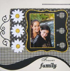 """""""Forever Family"""" scrapbook page layout. Love the colors.black, white, and a bit of sunny bright yellow. Scrapbook Bebe, Album Scrapbook, Scrapbook Layout Sketches, Scrapbook Templates, Wedding Scrapbook, Scrapbook Designs, Scrapbook Paper Crafts, Scrapbooking Ideas, Scrapbook Patterns"""