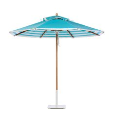 Santa Barbara umbrella in teak with Regatta Aqua Sea canopy, double banding in Whitecap, and lining in Aqua Sea Stripe. Upgraded aluminum hubs in anodized silver.