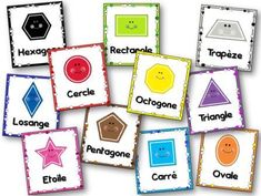 The display of geometric shapes in kindergarten and cycle 2 and 3 Affichage des formes géométriques Plus - Petite Section, Grande Section, Kindergarten Posters, Preschool Kindergarten, Kindergarten Shapes, Days Of The Week Activities, Fun Activities, Buzzfeed, Basic French Words