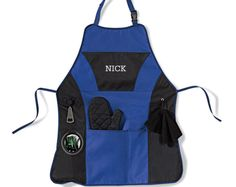 With this Personalized Blue Black Grilling BBQ Apron he will have everything he needs at his fingertips. With our handy personalized BBQ apron, the perfect gift for the grill master in your family. Grill Apron, Bbq Apron, Men's Apron, Best Anniversary Gifts, Personalized Gifts For Dad, Aprons For Men, Christmas Gift For Dad, Kitchen Aprons, Kitchen Gifts
