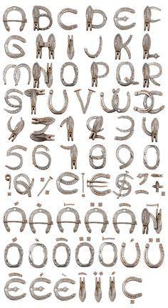 Horseshoe font alphabet. Typography, lettering.
