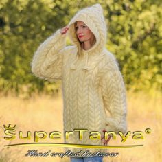 Extra Thick Hand Knit Sweater Mohair IVORY Color by supertanya