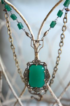 Emerald DesireVintage art deco chrysoprase by frenchfeatherdesigns, $164.00