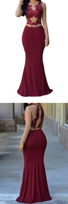 Elegant High Neck Prom Dresses,Long Sleeves Prom Dresses,Lace Prom Dresses,Appliques Prom Dresses,Long Prom Dresses