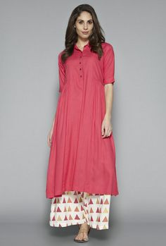 Buy Utsa by Westside Pink Solid Kurta for Women Online @ Tata CLiQ Western Dresses, Indian Dresses, Pakistani Outfits, Indian Outfits, Westside Kurti, Hijab Fashion, Fashion Outfits, Skirt Fashion, Fashion Ideas