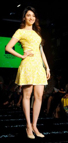 Tamanna Bhatia looked sweet in a cheery yellow dress at the Lakme Fashion Week 2014 #Style #Bollywood #Fashion #Beauty #LFW2014