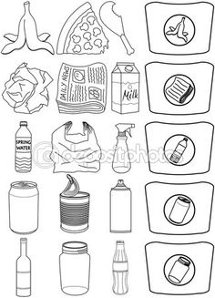 Food Bottles Cans Paper Trash Recycle Pack Lineart Diy For Kids, Crafts For Kids, Drawing Competition, Doodle Art Drawing, Creative Curriculum, Free Vector Illustration, My Notebook, Earth Day, Diy And Crafts
