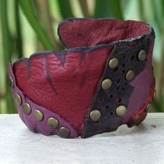 Red Fuschia Black Unique Patchwork with Antiqued Brass Studs Bohemian Hippie Handmade Womens Leather Cuff Bracelet (Thailand) | Overstock.com Shopping - The Best Deals on Bracelets