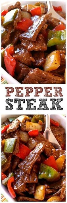 Pepper Steak! Super easy recipe with sauteed steak strips, peppers and onions. PERFECT over rice! #beeffoodrecipes