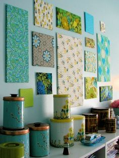 Fill empty spots in your gallery with this easy, homemade trick. Simply wrap your favorite fabric scraps around some lightweight foam core for an impactful design that requires zero artistic ability.