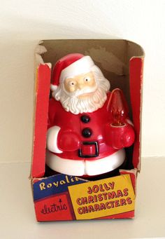 Vintage Christmas Royalite Santa, Light up in Original Box