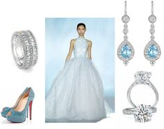 """Something Blue Bridal Look"".  Rings by Bez Ambar.  Earrings by Penny Preville."