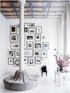 Fashion designer Lela Rose's Tribeca Loft apartment . <3 the circular banquette by Pierre Paulin