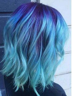 Blue ombré dyed hair