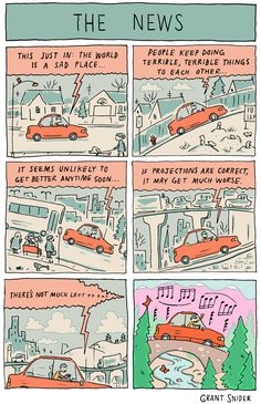 'The News', A Comic by Grant Snider About the Depressing Effect of Newscasts