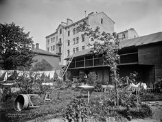 Korkeavuorenkatu 11 pihan puolelta.   Brander Signe HKM 1907   Helsingin kaupunginmuseo   negatiivi ja vedos, lasi paperi pahvi, mv